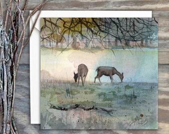 Deers in Bushy Park  - Greeting Card