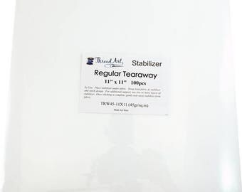 Regular Tearaway Embroidery Backing Stabilizer - 11x11 100 Precut Sheets
