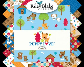 "Riley Blake Fabrics -Puppy Love by Doodlebug Design Rolie Polie 2.5"" Fabric Quilting Strips Jelly Roll 40 count RP-6930-40"