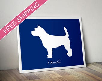 Personalized Cairn Terrier Silhouette Print with Custom Name - Cairn Terrier dog art, dog gift, dog poster, dog home decor