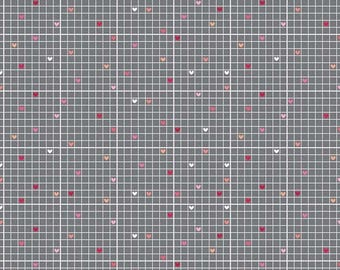 SALE Pink Gray Hearts Fabric/Lovebug Grid Gray - 2 Yards - Riley Blake/Love Bug/Gray Pink Heart Fabric/C5053 Gray/Doodlebug Designs