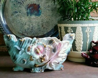 Vintage 1950s Planter, Blue, pink and gold ornate leaf planter vase, Enesco Japan