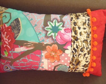 """cushion """"TIGER LOLA"""" patchwork fabric and tassels"""