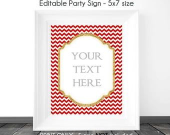 INSTANT Download - Red Chevron and Glitter Gold BLANK Sign, 5x7 Size, Printable, DIY Sign, Wedding or Baby Shower, Editable Sign
