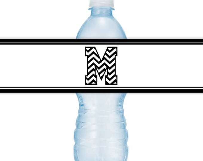 CUSTOM Printable Water Bottle Labels, CUSTOMIZED Letter Monogram, Choose Your Colors, you print, you cut, DIY water bottle labels