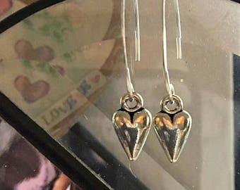 V Shape Sterling Silver Flattened Wire Elongated Heart Earrings - Artisan Style Heart Earrings