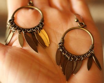 "Earrings ""Sheets of brass"""