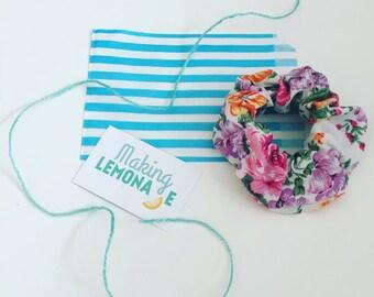 Vintage floral scrunchie