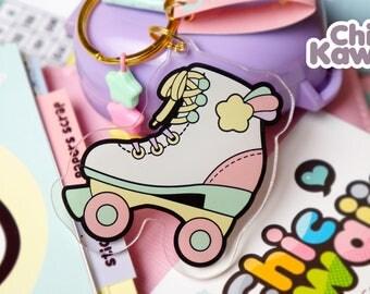 Chic Kawaii roller skate Keychain Acrylic. Lovely.