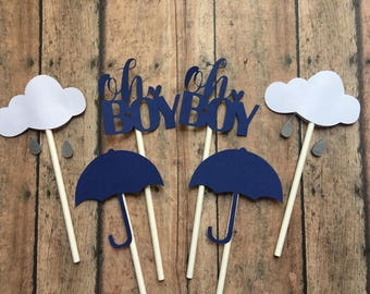 Oh Boy, Rain Cloud, and Umbrella Toppers