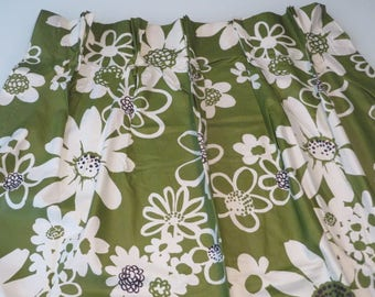 "Vintage Mid Century modern Mod 60's 70's Avocado green floral flower power pinch pleat drapery curtains 4 curtain panels 84"" for two windows"