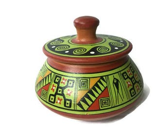 """Vintage Green Hand Painted Native American Clay Trinket Box 3"""" x 3 1/4"""""""