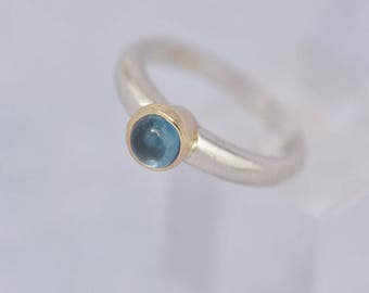 Handmade Blue Topaz Ring, Sterling Silver Ring with Blue Topaz, Ring Size M1/2, Blue Ring, December Birthstone Solitaire Ring