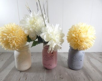 Distressed Painted Mason Jars choose Pink Gray White