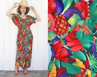 Vintage 80s Dress | 80s Tropical Fruit Print Black Rayon Long Dress | Medium M