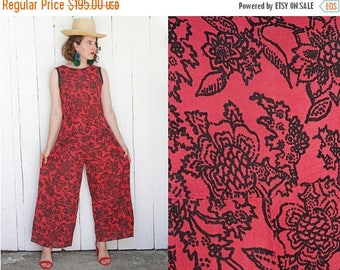 30% OFF Vintage 30s Jumpsuit | 30s Sleeveless Floral Print Wide Leg Jumpsuit | Medium M Large L