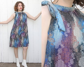 Vintage 70s Dress   70s Accordion Pleated Print Minidress Halterneck   Small S