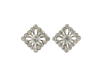 Vintage Rhinestone Earrings, Diamond Shape