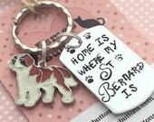 St Bernard gift, St Bernard keychain, St Bernard dog gift, Hand Stamped, Key Ring, dog lover gift, gift for him, gift for her,