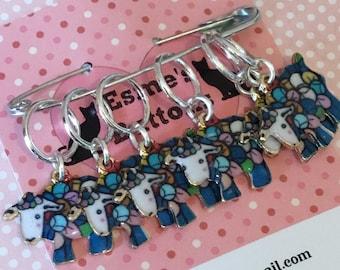 Sheep gift, Rainbow Stitch markers, gift for knitter, knitting, knit, knitting gift, UK seller, gift for him, gift for her,