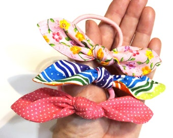 Summer Pony Tail Holders, Elastic Hair Ties, Pink and Bright Colored Girls Fashion Hair Accessory, Hair Bows, Hair Tie Backs iycbrand