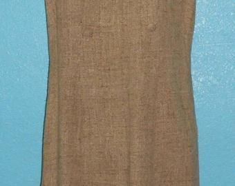 Vintage 1960s Mod Style Heathery Oat/Brown Sleeveless Linen Day Dress — Size Large, 12/14