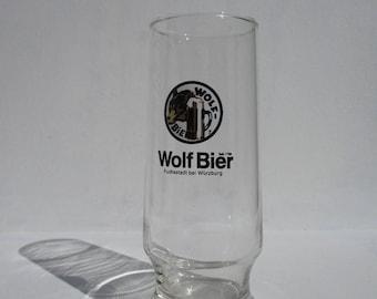 Vintage Wolf Bier German Beer Glass,Fuchsstadt Wurzburg-Land,Rastal 0.25L Beer Glass,Vintage Germany Beer Glass,Vintage Barware,Beer Glass