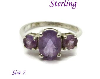 Sterling Silver - Vintage Faux Amethyst Ring, Sterling Silver Multistone Ring, Purple Gemstone Ring, Size 7