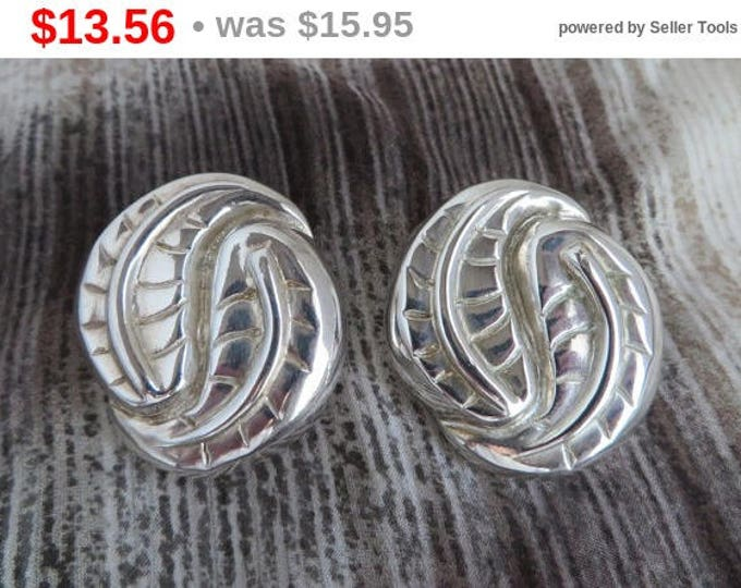Vintage C. Stein Silver Leaf Earrings, Catherine Stein Silver Plated Clip-on Earrings