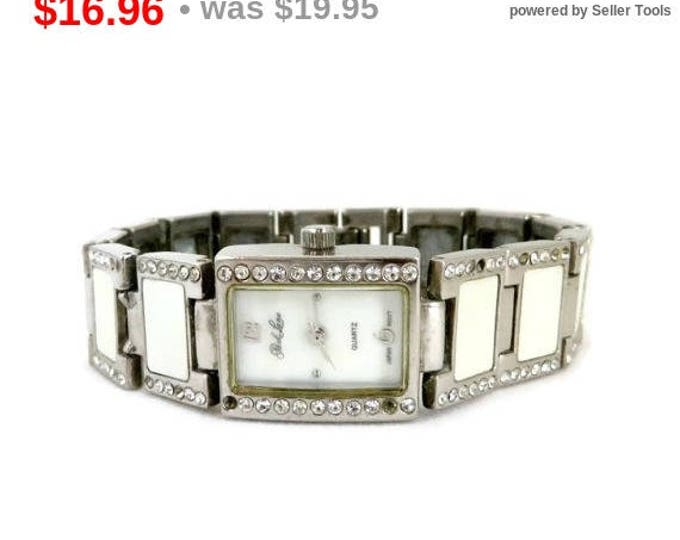 Park Lane Watch, Vintage MOP Rhinestone Watch, Silver Tone Ladies Wrist Watch