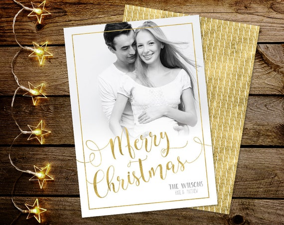 Photo Christmas Card, Merry Christmas Card with photo, Photo Holiday Card, Printable Christmas Card, Gold Christmas Card, Xmas Card