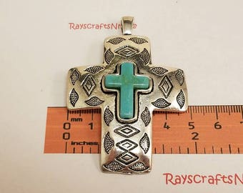 1 pc 71x49mm Large Textured Cross Pendant with Turquoise Inlay Antique Silver Lead Free Pewter. SLR0495.