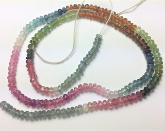 "16"" 65ct Gem Quality 2MM Stunning Faceted mixed Tourmaline Beads strand string"