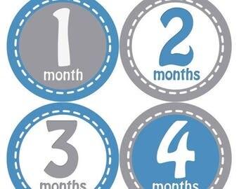 Baby Month Stickers, Baby Boy Gift, Milestone Stickers, Monthly Sticker, Monthly Baby Boy Stickers, Baby Month Milestone Stickers230