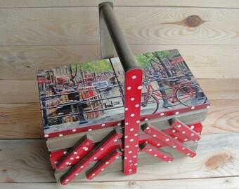 Wooden sewing box Sewing basket Sewing caddy Jewellery box Craft organizer Cantilever sewing box Polka dot box Accordion sewing box