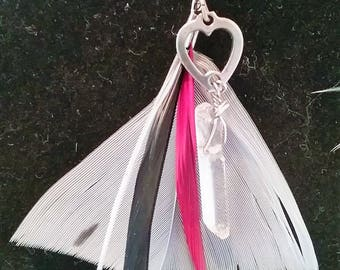 Feather and Quartz Earrings