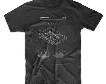 Cassette Tape Patent T Shirt, DJ Gifts, 80s Shirt, Retro Radio, Music Lover Gift, PP0319