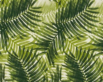 SHIPS SAME DAY Green Palm Fronds Indoor/Outdoor Tropical Fabric, Palm Upholstery Fabric, Tropical Outdoor Pillow Cover Fabric, Palms Fabric