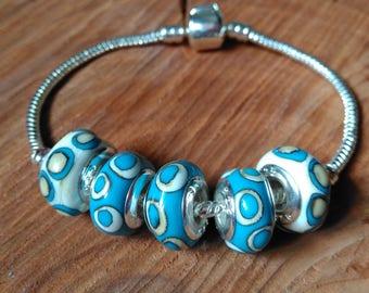 Handmade Bracelet with lampwork beads