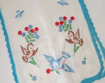 Vintage Embroidered Bluebird Runner