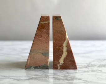 Pink Marble Bookends / Pink Marble Triangular Bookends / Marble Pink Bookends