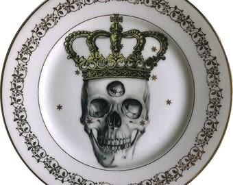 Third eye King - Skull - Vintage Porcelain Plate - Limoges France #0498