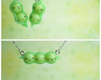 Kawaii Peas in a Pod, Earrings OR Necklace