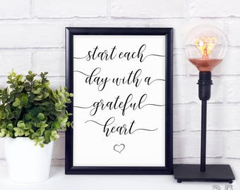 Grateful Heart Quote, Home Decor, Wall Art, Printable Quote, Inspirational Quote, Gallery Wall Art, Office Decor - Instant Download