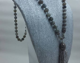Labradorite Faceted Bead Necklace with Crystal Tassel.