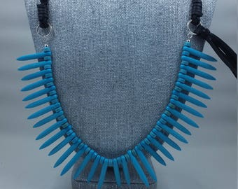 Leather and Howlite Necklace