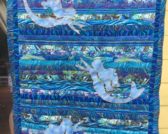 Beautiful Bluewater Mermaids Quilt, 50x60 (Throw Size)