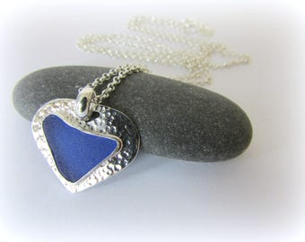Sea glass necklace. Sterling silver necklace. HEART pendant. Maine jewelry. Sea glass HEART pendant. Heart necklace Sea glass jewelry
