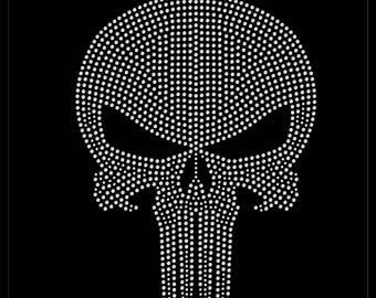 Halloween Skeleton Skull Tribal Rhinestone Iron On Transfer Hotfix Bling