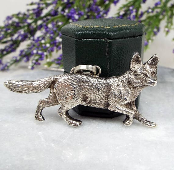 Antique Edwardian Sterling Silver One of a Kind Detailed Fox Pendant Necklace 925